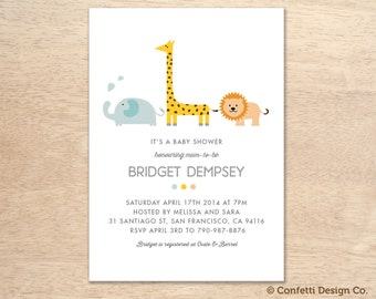 Custom Baby Shower Invitation - Animal Safari - Gender Neutral - DIY printing
