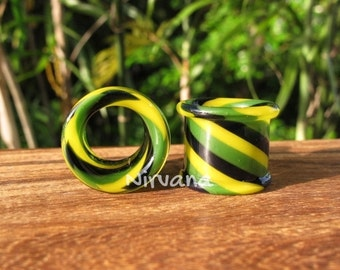 """Jamaica Tunnels Pyrex Glass 6g 4g 2g 0G 00g 7/16"""" 1/2"""" 9/16"""" 5/8"""" 4 mm 5 mm 6 mm 8 mm 10 mm 12 mm 14 mm and up to 1"""" (25.4 mm)"""