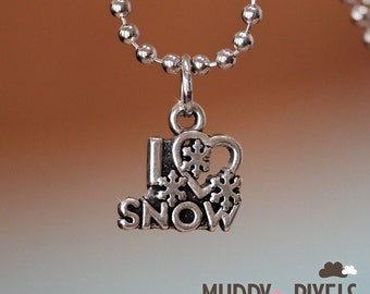 I Love Snow charm on a Silver Necklace
