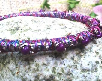 Bohemian Bracelet, sari silk and hand beaded bracelet, silk wrapped bracelet
