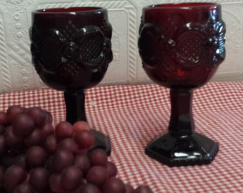 Set of Two (2) Vintage Avon Ruby Red Wine Glasses