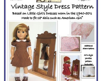 "Vintage Style Doll Dress Pattern for 18"" AG dolls"