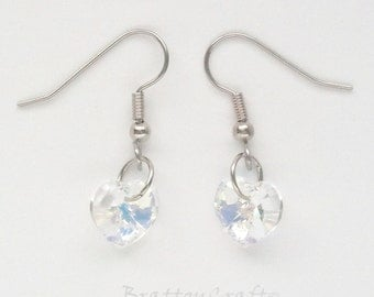 Crystal Heart Earrings - Valentine's Day Earrings - Holiday Earrings - Valentine Earrings - Crystal Jewelry - Gifts for her - EPSTeam