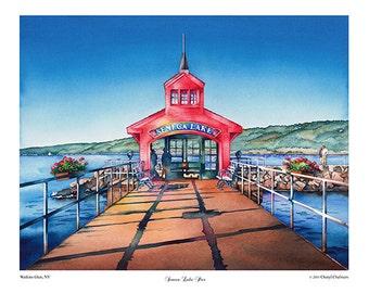 "Seneca Lake, Giclee Print, Watkins Glen, Seneca Pier, Finger Lakes, watercolor painting 12"" x 18"" by Cheryl Chalmers"