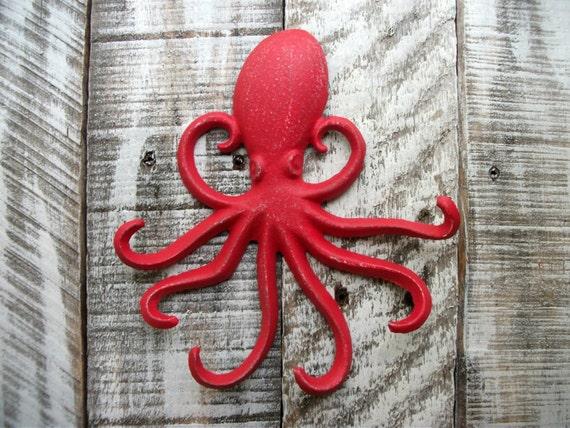 Bright red octopus hook cast iron bedroom bathroom wall hanger - Coat hook octopus ...