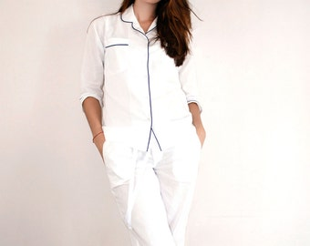 Cotton Pajamas - Classic Long Sleeve PJ's in White with Blue Trim