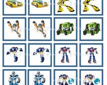 Transformers Rescue Bots Digital Memory Game - Birthday Party Cupcake Topper Diy Printable