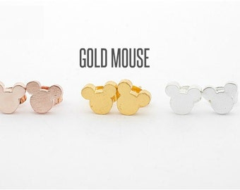 Gold Mouse Stud Earrings, Mouse Earrings, Mouse Jewelry,Mouse Studs, Jewelry, Mouse Jewelry,
