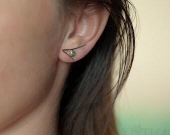 Silver ear climber earrings / Green tourmaline ear crawler earrings