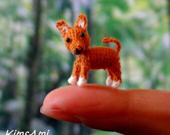 Mini amigurumi Dingo dog - brown & white. Comes with FREE handmade display box.