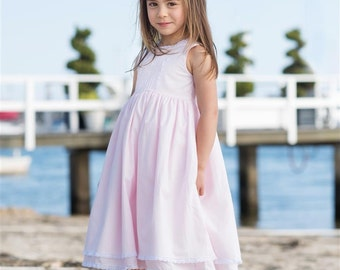 Heirloom Little Girls Dress Handmade Summer Dress Perfect Princess Dress Classic Long Toddler 2t to size 10 pink light blue lavender white