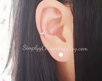 Criss Cross Double Conch Ear Cuff No piercing required Helix Jewelry - Sterling Silver/14K Gold Filled