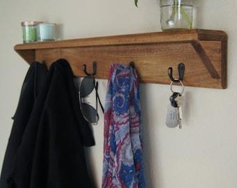 Solid Wood Coat Rack with Shelf Key Hooks Entryway Organizer