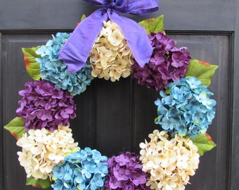 Easter Wreath for Front Door, Wreath for Spring, Hydrangea Wreath, Spring Wreath, Blue Cream and Purple Wreath for Easter Door Decoration