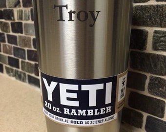 Yeti Tumbler 20 0z Rambler with FREE engraving (NEW American Flag or your choice of the 50 States logo... FREE!)
