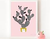 CACTUS Paddle  Poster, CACTUS  Art Print, CACTUS  Big Print Poster / Soft Pink