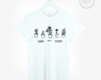 PLANTS ARE FRIENDS weed t-shirt shirt tee unisex womens mens cute kale flowers vegan cactus tumblr pinterest instagram 100%cotton *brand new