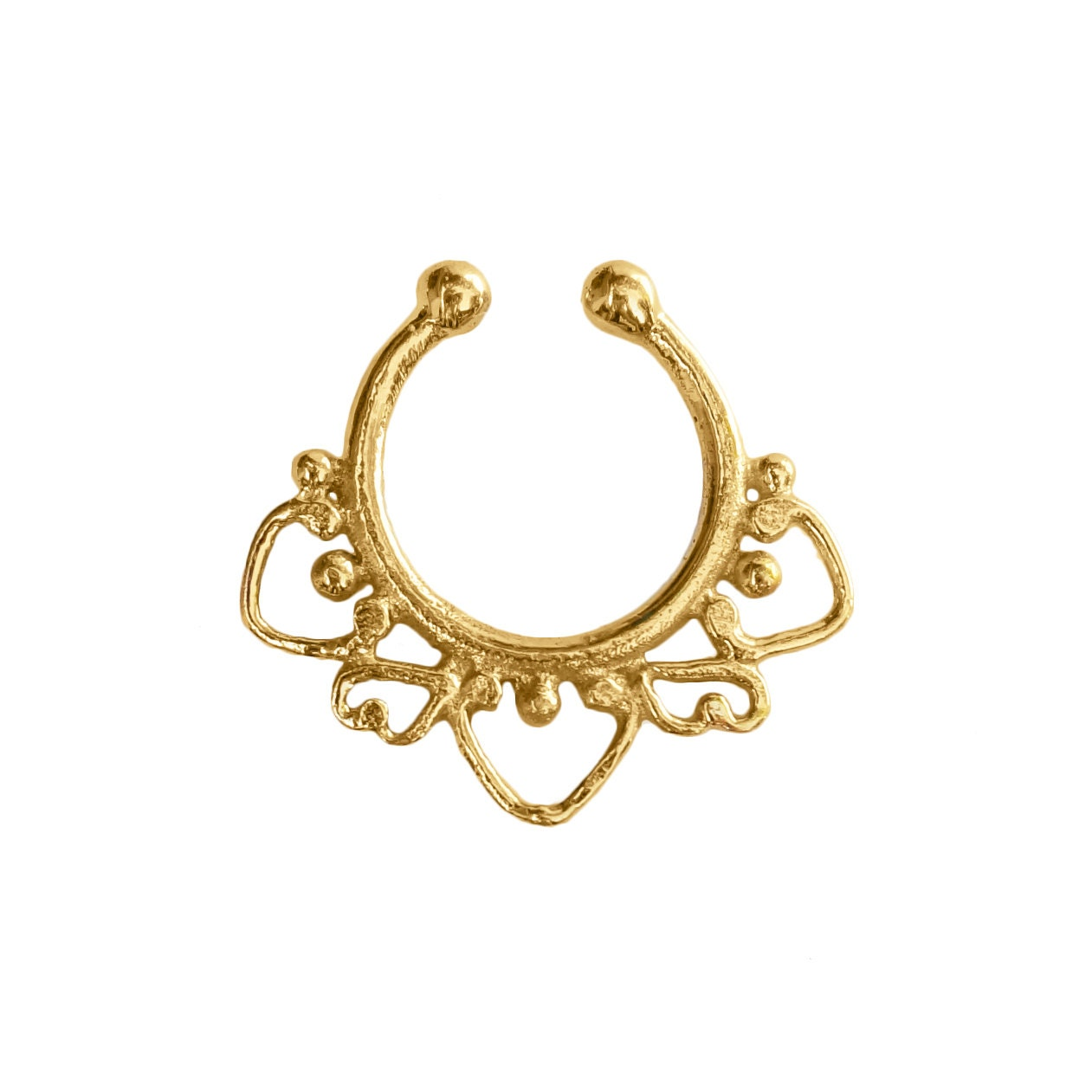 indian style gold septum ring indian by umanativedesign