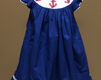 Navy white and pink anchor smocked cotton dress In Stock ready to ship! FREE SHIPPING
