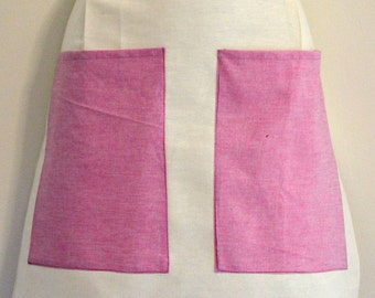 Lovely Spring Pink Apron, Short Waist Apron Multiuse, Big pockets apron, kitchen apron
