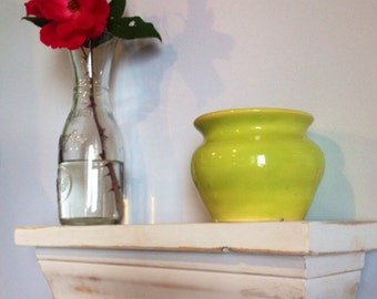 Distressed White Decorative Shelf, Crown Molding Shelf, Key Shelf