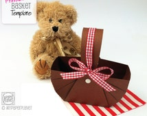 DIY PRINTABLE Teddy Bears Picnic Baskets. Teddy bear party. Birthday party favors or table decorations. Birthday party, baby shower.