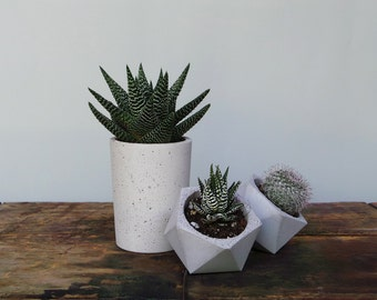 Set of 3: concrete cup planter & two geometric concrete planters, Geometric concrete planter, Concrete planter, Succulent planter, Planter