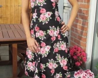 Black floral dress, summer dress, sleeveless dress, day dress, prom dress, midi dress, vintage style dress