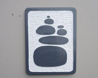 Rock cairn - carved custom sign