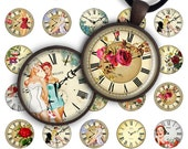 75 % de réduction vente horloge Retro - feuille de Collage numérique 1 pouce et image de taille de 1,2 pouce pour pendentif rond verre breloques résine aimants de l'image numérique