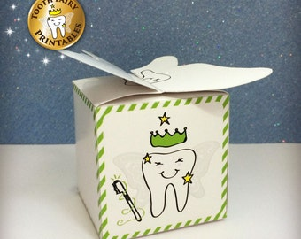 Tooth Fairy box, Lost tooth box, Keepsake Box, DIY kit for kids, Instant download Printable file.