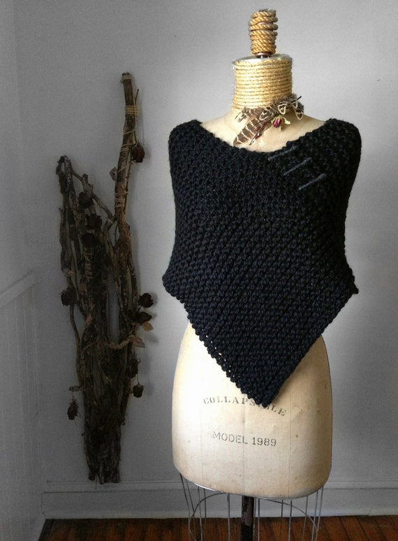 Poncho / Black/ Slate/ Blk Cherry Handknit/ Chunky Weave