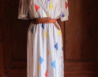 SALE 1980 s Sweet stripy and geometric Summer dress