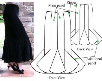 Gored skirt – PDF sewing pattern – Godet maxi skirt– Women's sewing pattern. Sizes 4, 6, 8, 10.