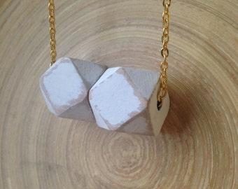 Geometric painted wood bead pendant necklace