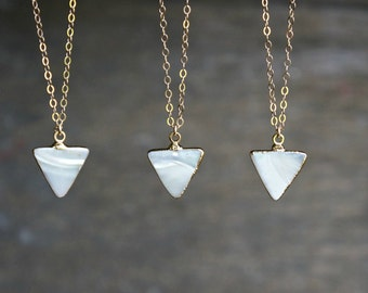 Triangle Necklace // Gold Rimmed Genuine Mother of Pearl Triangle Pendant on a Gold Filled Chain / Beachy Boho ... choose your chain length