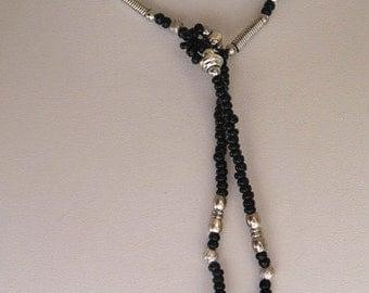 1928 Jewelry Black Beaded Lariat Necklace