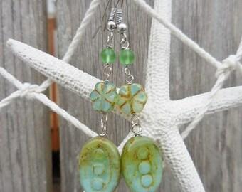 Turquoise Green Verdigris Long Dangle Earrings