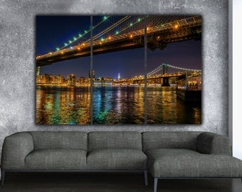 New York Brooklyn Bridge and Manhattan Bridge on Canvas, Large Canvas Wall art, New York City, Empire State, New York Photo, New York art
