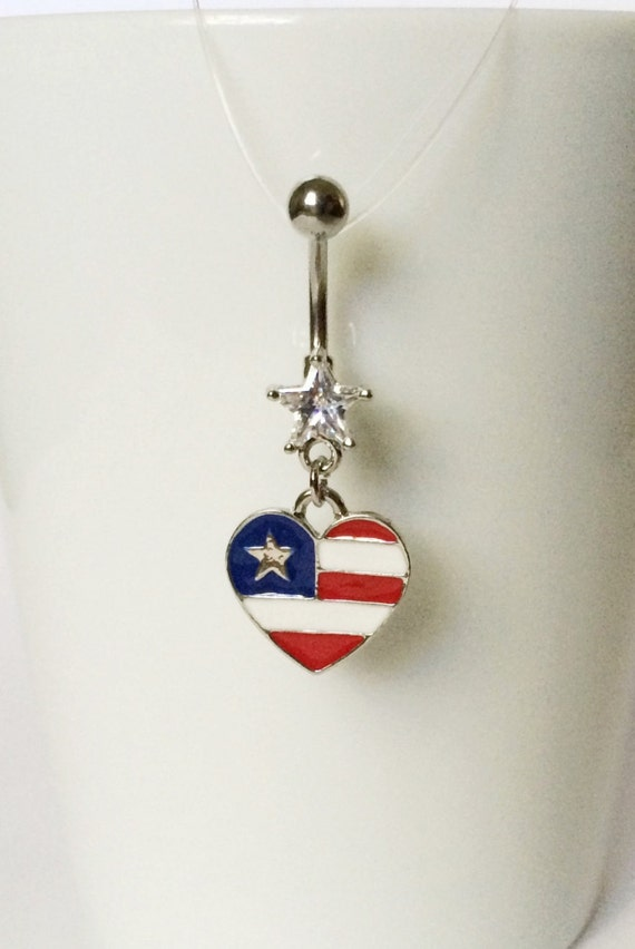 usa flag heart navel piercing 14 gauge bpc 24 belly ring