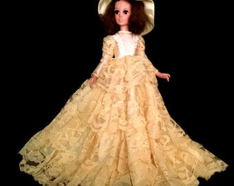 A Mid-Century Yellow Lace Bed Doll                                                                               VG1572