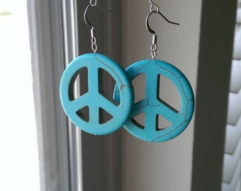 Turquoise Peace-Sign Earrings