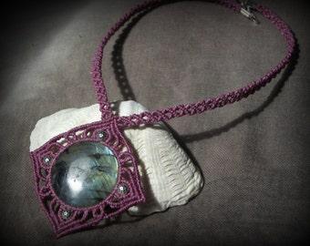 star labradorite macrame necklace