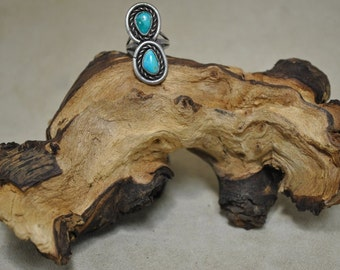 Sterling Silver Two Stone Turquoise Ring - Size 5