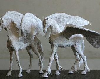 Horse Sculpture, Easter Gift, Paper Mache Sculpture, Wedding Gift, Horse Decor, Modern Home Decor, Horse Art, Horse Figurine, Birthday Gift