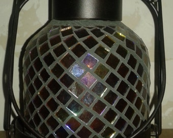 Vintage stained glass candle lantern