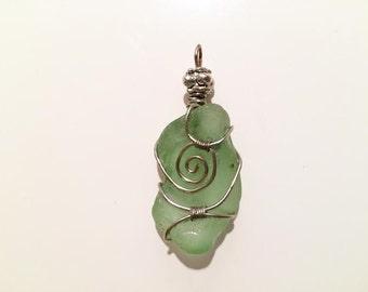 River glass,silver,wire,necklace,pendant,aqua,wire wrapped,handmade,unique design,sea foam,swirled,jewelry,glass,delicate,elegant pendant
