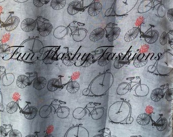 bicycle print scarf, long, grey