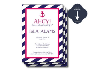 INSTANT DOWNLOAD - Pink/Blue Preppy Nautical Ahoy digital template /Nautical Shower, Nautical Party, Sailing Invitation, Nautical Background