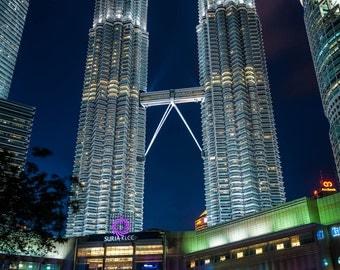 "Tallest Twin Towers - ""Petronas"" Fine Art Photograph (9.5"" x 13.25"" Print on 14"" x 18"" Board) Kuala Lumpur Malaysia, High-rise Bridge"